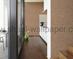 טפט לקיר עלים מיוחד נוצץ בגוון חום וזהב