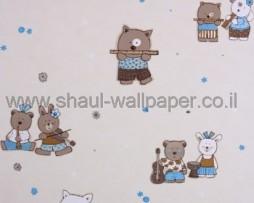 טפט לחדרי תינוקות כלי נגינה ודובים