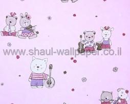 טפט לחדרי תינוקות דובים ברקע ורוד