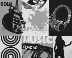 טפט מוזיקה וכלי נגינה בגווני שחור לבן ואפור