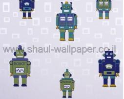טפט לילדים רובוטים צבעוניים ברקע ריבועים