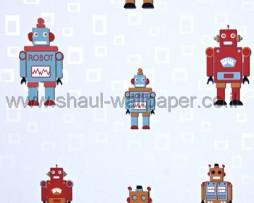 טפט רובוטים צבעוניים ברקע לבן עם ריבועים