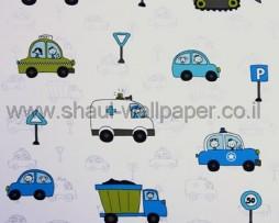 טפט לילדים כלי תחבורה ברקע לבן