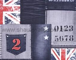 טפט ג'ינס כחול עם דגל בריטניה