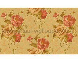 טפטים לחדר שינה, טפט לקיר ורדים ועלים גוון צהוב וכתום