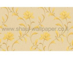 טפטים לחדר שינה, טפט לקיר גבעולי עלים וטקסטורה שמנת צהוב