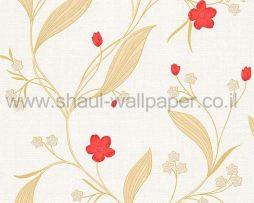 טפטים לחדר שינה, טפט לקיר פרחים וגבעולים זהב לבן אדום