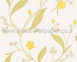 טפטים לחדר שינה, טפט לקיר פרחים וגבעולים ירוק צהוב לבן