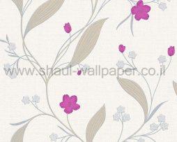 טפטים לחדר שינה, טפט לקיר פרחים וגבעולים לבן סגול כסף