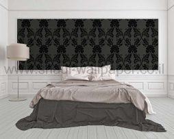 טפטים לחדר שינה, טפט לקיר עלים גדולים מוחשיים גוון שחור
