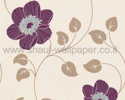 טפטים לחדר שינה, טפט לקיר פרח שושן בצבע קרם סגול