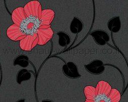 טפטים לחדר שינה, טפט לקיר פרח שושן שחור אדום כסף