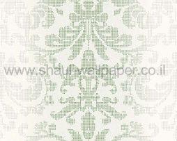 טפטים לחדר שינה, טפט לקיר צורות מדליונים מנוקדים אפור ירוק