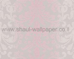 טפטים לחדר שינה, טפט לקיר צורות מדליונים מנוקדים ורוד אפור