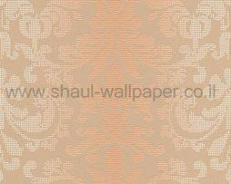 טפטים לחדר שינה, טפט לקיר צורות מדליונים מנוקדים כתום אפור