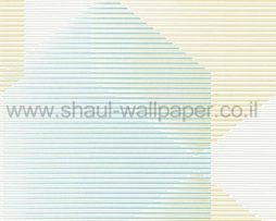 טפטים לחדר שינה, טפט לקיר פסים לרוחב וצורות ירוק לבן