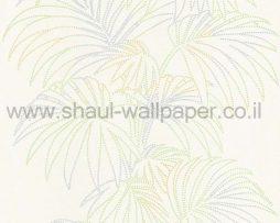 טפטים לחדר שינה, טפט לקיר צורות עלים מנקודות ירוק אפור