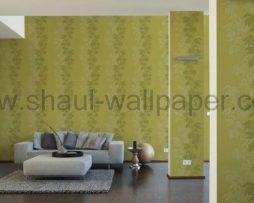 טפטים לחדר שינה, טפט לקיר גבעולים ועלים גדולים גוון ירוק