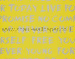 טפטים לחדר שינה, טפט לקיר משפטים באותיות גדולות צהוב אפור