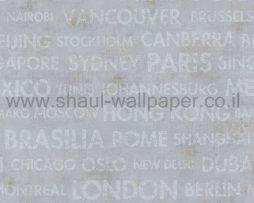 טפטים לחדר שינה, טפט לקיר גרפיטי ערים בעולם תכלת לבן