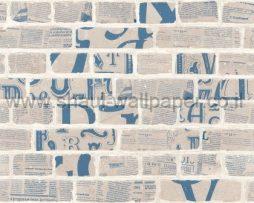 טפטים לחדר שינה, טפט לקיר דמוי לבנים כיתובים אפור כחול