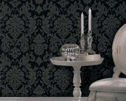 טפטים לחדר שינה, טפט לקיר מדליונים בצורת פרחים שחור כסף