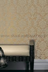 טפטים לחדר שינה, טפט לקיר מדליונים בצורת פרחים צבע זהב