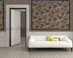 טפטים לחדר שינה, טפט לקיר צורות עלים צבע שחור וכסף
