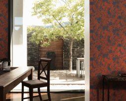 טפטים לחדר שינה, טפט לקיר צורות עלים צבע אדום כחול