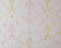 טפטים לחדר שינה, טפט לקיר טפט צורות מדליונים ורוד צהוב