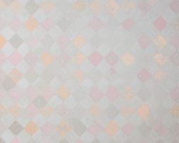 טפטים לחדר שינה, טפט לקיר מעויינים צבעוניים אפור כתום
