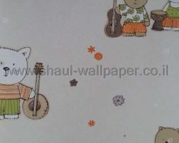 טפטים לחדר שינה, טפט לקיר חיות מנגנות צבעוני ורקע שמנת