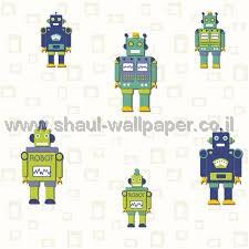 טפטים לחדר שינה, טפט לקיר רובוטים קטנים רקע לבן