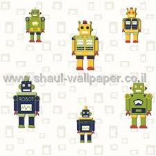 טפטים לחדר שינה, טפט לקיר רובוטים קטנים צבעוני