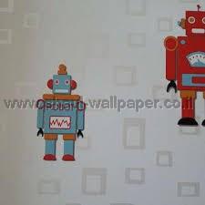 טפטים לחדר שינה, טפט לקיר רובוטים קטנים צבעוני 2