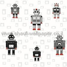 טפטים לחדר שינה, טפט לקיר רובוטים קטנים צבעוני 3