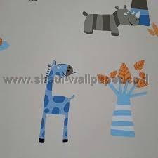 טפטים לחדר שינה, טפט לקיר ג'ירפות ופילים צבעוני