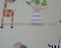 טפטים לחדר שינה, טפט לקיר ג'ירפות ופילים צבעוני רקע ירוק