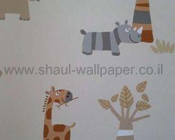 טפטים לחדר שינה, טפט לקיר ג'ירפות ופילים צבעוני גוון חום