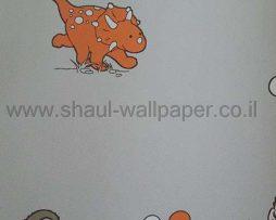טפטים לחדר שינה, טפט לקיר דינוזאורים ובועות רקע אפור