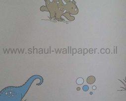 טפטים לחדר שינה, טפט לקיר דינוזאורים ובועות רקע קרם