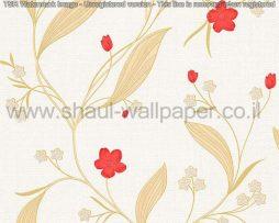 טפטים לסלון פינות אוכל ולחלל הבית טפט פרחים מטפסים לבן אדום וזהב