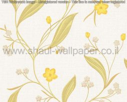 טפטים לסלון פינות אוכל ולחלל הבית טפט פרחים מטפסים לבן צהוב וזהב