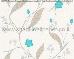 טפטים לסלון פינות אוכל ולחלל הבית טפט פרחים קטנים מטפסים לבן טורקיז