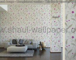 טפטים לסלון פינות אוכל ולחלל הבית טפט פרחים מטפסים לבן אפור סגול