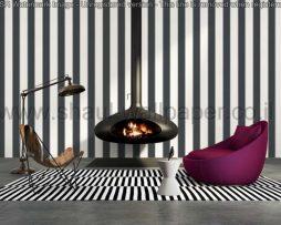 טפטים לסלון חדרי שינה ולחלל הבית טפט עם פסים בצבע אפור ולבן