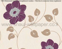 טפטים לסלון ולחלל הבית טפט עלים ופרחים מטפסים לבן שמנת סגול