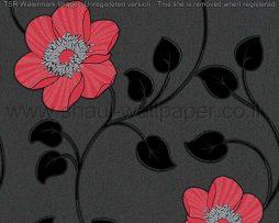 טפטים לסלון ולחלל הבית טפט עלים ופרחים מטפסים שחור אפור ואדום
