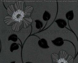 טפטים לסלון ולחלל הבית טפט עלים ופרחים מטפסים שחור אפור וכסף
