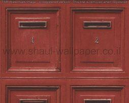 טפטים לחדרי עבודה ומשרדים , טפט בורדו בדוגמא של תיבות דואר